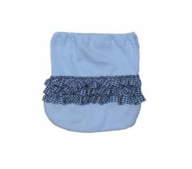 01 Hanssop broekje blauw met roezeltje maat 62/68