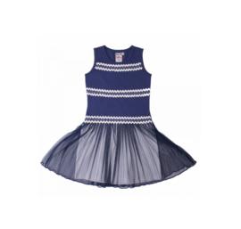 LoFff Ricrac jurk donker blauw- wit Z7927-01