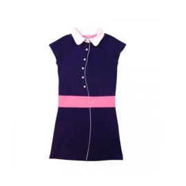 000011  LoFff jurk - Wit- donker blauw roze Z8101-01