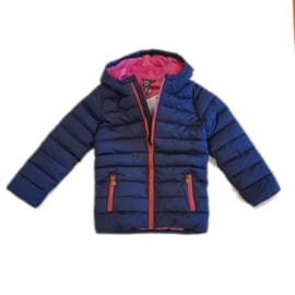 0001 Far out meiden winterjas blauw roze model Hippo