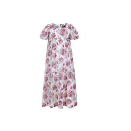 00 LoFff jurk maxi roze-wit  Z8558-48