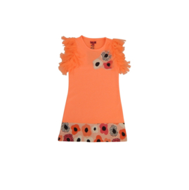 01 LoFff jurk frilly sleeve  peach Z8358