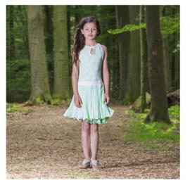 00050 LoFff jurk - Wit- mint groen Z8180-02