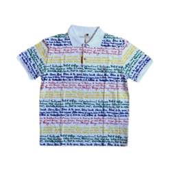 JC de Castelbajac Poloshirt Wit Bedrukt Maat M