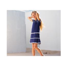 LoFff Ruche jurk -Dark Blue- Z7918-01