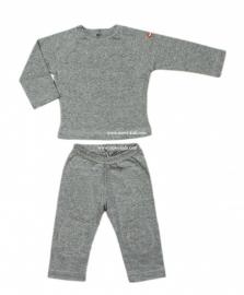 00012 Shirtje  broek en longsleeve grijs maat 74