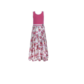 00 LoFff jurk roze maxi Z8569-48