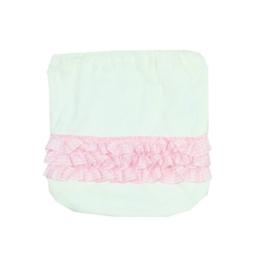 001 Hanssop broekje wit met roze roezeltje maat 62/68