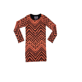 011 LavaLava jurk Aztec zwart-coral 18-231B