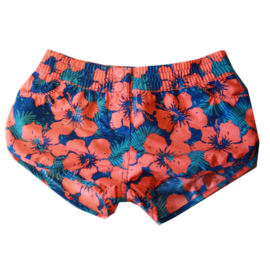 001 Far Out short 900049 bloemenprint  oranje blauw
