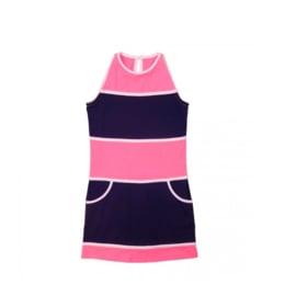 000011  LoFff jurk - Wit- donker blauw roze Z8102-02