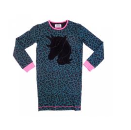 001 LavaLava jurk unicorn zwart-groen 19-251