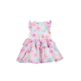 001 IDO jurk wit roze print maat 80