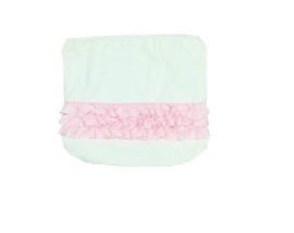 0003 Hanssop broekje wit met roze roezeltje maat 50/56