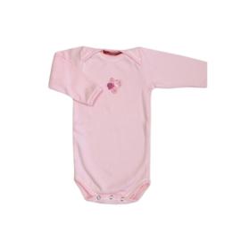 001 Hanssop roze romper bloemen maat 74/80