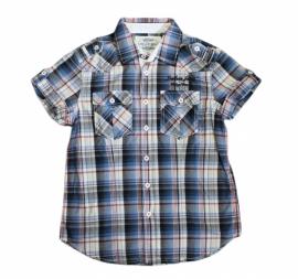 001 Deeluxe blouse blauw geblokt maat 152-158