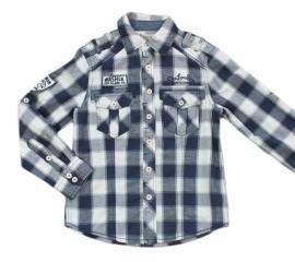 08 Deeluxe blouse blauw geblokt maat 134/140