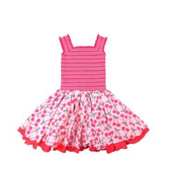 00020  LoFff jurk -roze met kersjes Z8123-01