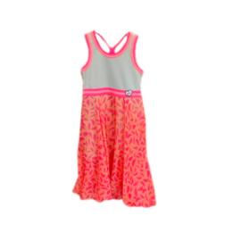 000040 LoFff  Maxi jurk - chiffon roze-mint -Z8160-01