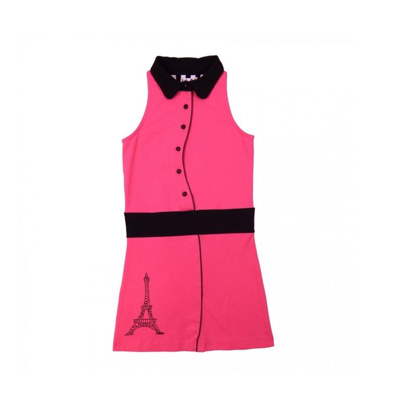 000021 LoFff jurk -  roze -zwart Z8101-03