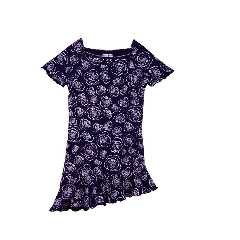0006  LoFff jurk - Wit- donker blauw Z8118-02