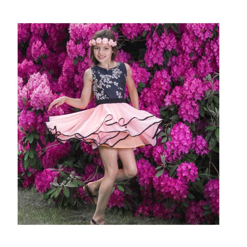 052 LoFff jurk - grey peach- waterfall dream Z8191-01