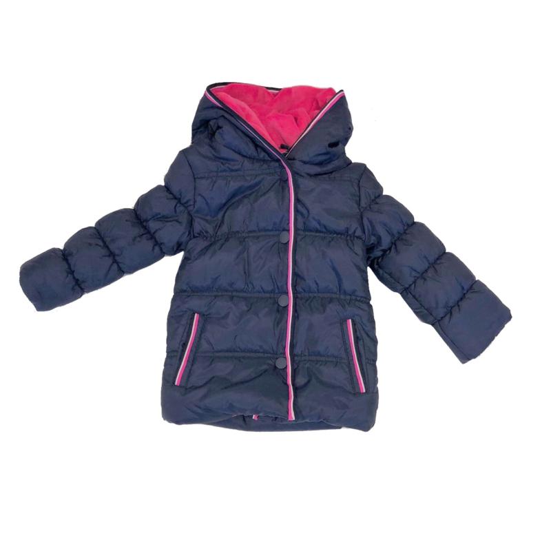 001 Far out meiden winterjas blauw roze wit model Hippo