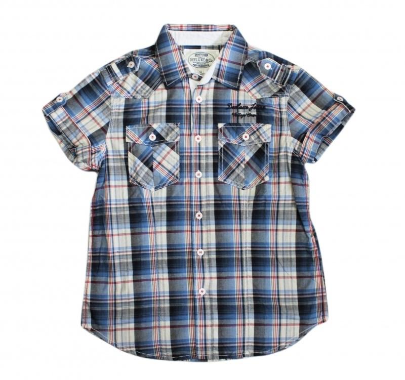0001 Deeluxe blouse blauw geblokt maat 152-158