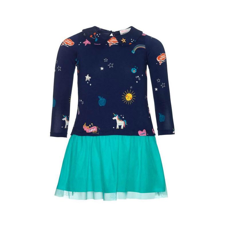 001 Mim-Pi 32 jurk blauw met eenhoorns