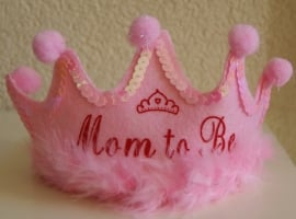 ROZE BABYSHOWER DIADEEM KROONTJE MOM TO BE  OP=OP