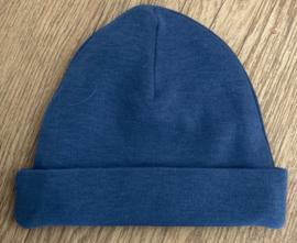 Babymutsje Silk blue 62-68 INCL TEKST