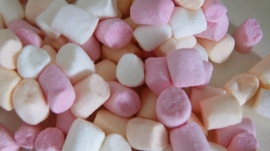 250 GRAM ROZE- WITTE/ORANJE MINI MARSHMALLOWS