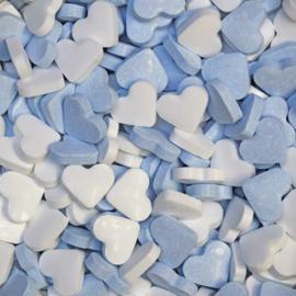 900 gram Blauw/witte dextrose hartjes met fruitsmaak