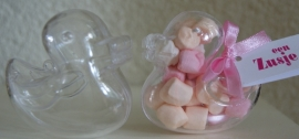 PLASTIC EENDJE MET MINI MARSHMALLOWS