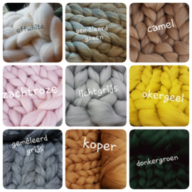 Zaterdag 4 april 3 kilo Merino wol met GRATIS workshop plaid Handbreien!!