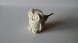 wit kast- of deurknopje in uil vorm.