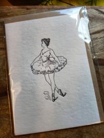 Dubbele luxe wenskaart Ballerina