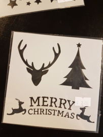 Merry Christmas  rendier kerstboom Sjabloon 13 x 13 cm