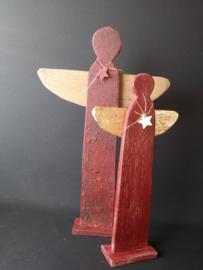 Set rode handmade kerstengelen 50 cm en 40 cm