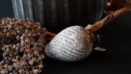 Glazen kerstbal marble grey 10 cm