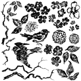 IOD deco stempel Birds Blossoms and branches