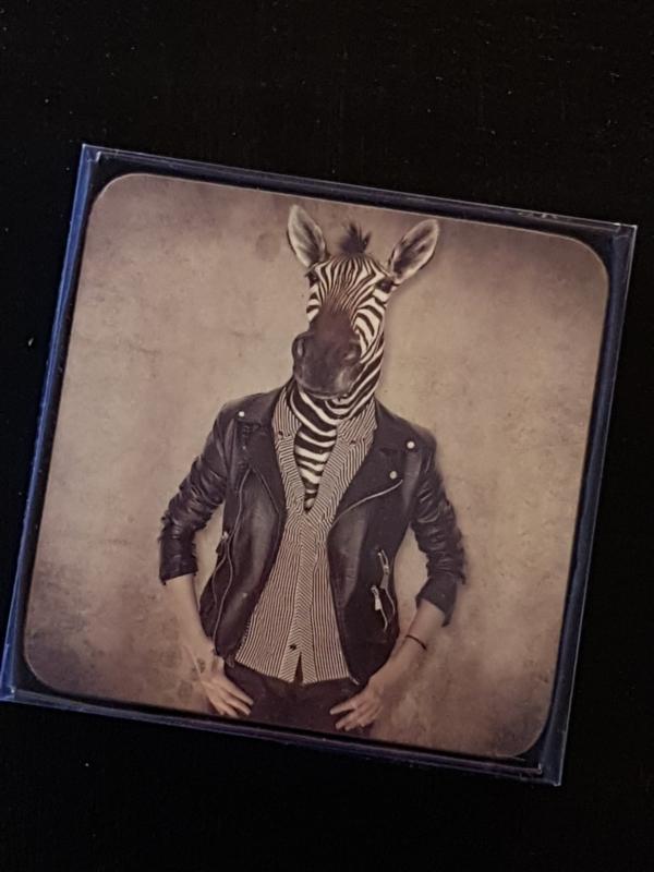 Set van 6 onderzetters zebra