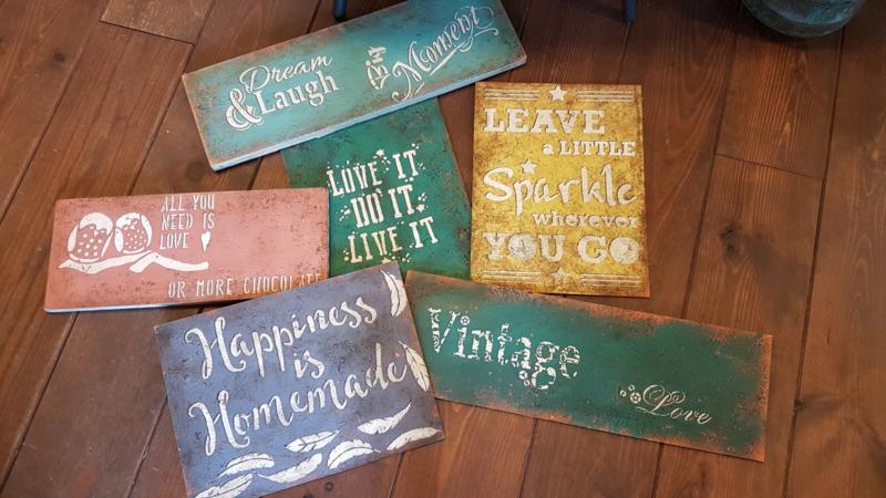 16 oktober eigen groep Workshop Roestige borden/Vintage signs