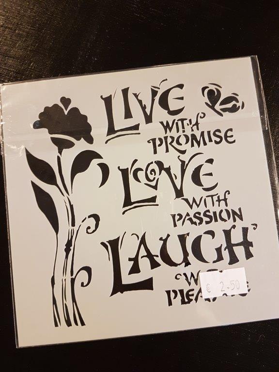 Live Love Laugh Sjabloon 13 x 13 cm