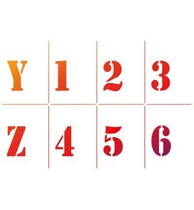 5 pieces Stencilset Alfabet en Nummers.