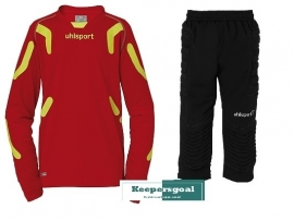 Uhlsport TorwartTECH GK junior set rood CLEAR-OUT