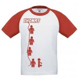 Kids Baseball T-shirt Minifig  met jouw naam Rood/wit