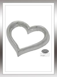 POSH Graffiti Silver Wooden 12cm open Hart