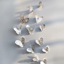3D Vlinders Metaal zilver klassiek