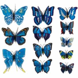 3D Vlinders assorti Blauw